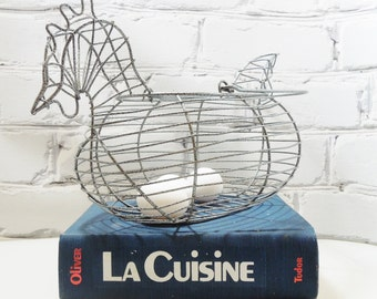 Wire Basket. Hen or Chicken Basket. Easter. Springtime. Farmhouse. French Country. Kitchen Storage.  Perfect for Gathering Eggs on the Farm.