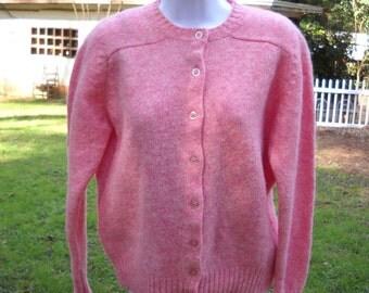 Vintage Lady Clansman Pink Cardigan / Sweater Medium to Large circa 1960s