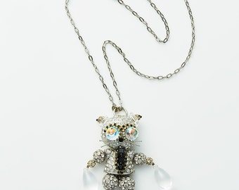 FURTHER REDUCTION was 250 now 150 incredible vintage FRENCH On Aura Tout Vu crystal rhinestone diamante creature animal dangle necklace