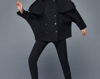 Plus size cape coat, coat, jacket, manteau laine, cape coat, Warm Winter cape, capejacke, womens cape coat, bomber jacket, wool capelet C974