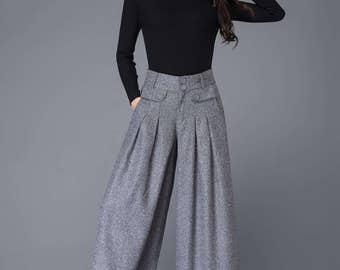Wide leg pants, wool pants, wide leg pants women, pants, womens pants, winter pants, gray trousers, long pants, palazzo pants C1001