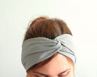 striped turban twist headband , cotton head wrap Light gray yoga namaste hair wrap