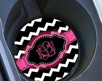 Monogram chevron car coaster, Black chevron hot pink, Custom initials cup holder coaster, Pink car decoration, Teen gifts under 10   (1032)