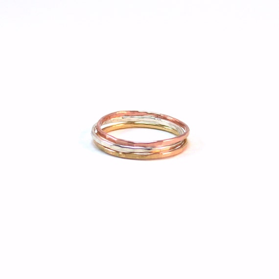 Tri Color Skinny Stacking Rings - Set of 3 Stackable Rings - Rose Gold, Silver, Gold - Hammered