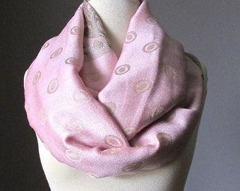 Blush infinity scarf , pale pink ,polka dots and  floral design,  silky blend
