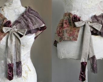 Victorian Bustle Skirt, Fabric Collage, Waist Belt, Bustle Belt Victorian Capelet, Victorian Cape or Collar, Lace and Velvet Women accessory