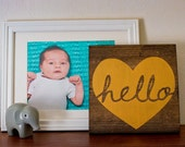 Hello Gold Painted Wooden Sign Nursery Baby Home Decor (9.25x9.25)
