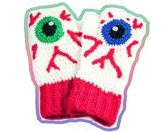 Eye Texting Mittens Spooky Bloody Eyeball Fingerless Gloves Creepy Red, Blue, Green, White & Black Psychobilly Vegan Crochet Hand Warmers