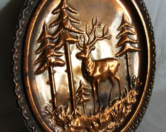 Woodland scenery, Red deer & pine tress 15'' WALL hanging plate. Vintage embossed metal, relief, large, repousse. Hunting cabin, lodge decor