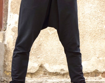 NEW Collection Loose Casual Black Drop Crotch Harem Pants / Extravagant Black Plated Pants/Unisex pants by AKASHA A05339