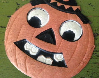 Antique Halloween German Smiling Jack O Lantern with Pointed Party Hat 1920s Old Halloween Decor Display