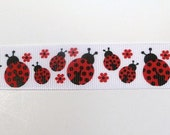 """7/8"""" Red Lady Bug print on White Grosgrain Ribbon- 3 yards- custom & Hard to Find"""