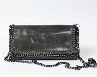 Leather clutch| Grey clutch| Modern clutch| Soft leather clutch|Chain strap clutch| DeZavuBoutique minimalistic clutch|