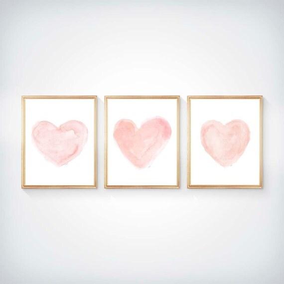 Blushing Hearts Nursery Prints, 8x10 Set of 3 Watercolor Prints