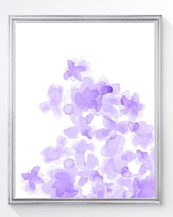 Purple Flower Print for Girls Room, 8x10