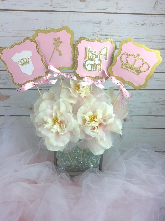 set of 4 princess baby shower centerpiece pink and gold baby shower