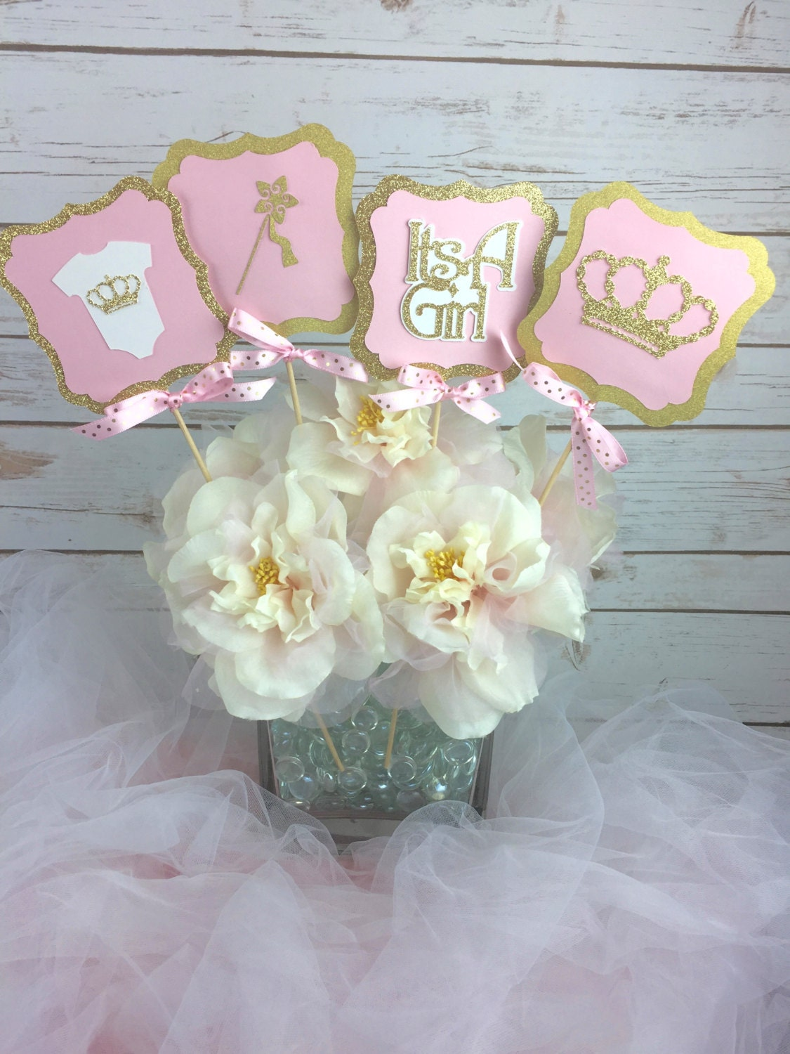 Set of 4 princess baby shower centerpiece pink and gold baby for Baby shower decoration set