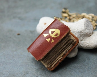 ORACLE book necklace - recycled brown leather and gold eye print