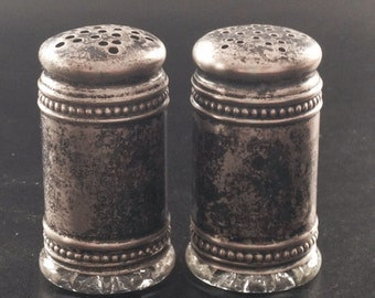 Vintage Salt and Pepper Shaker Silver and Glass