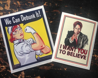 Mulder and Scully X Files Inspired Propaganda Sticker Decal Pack of 2
