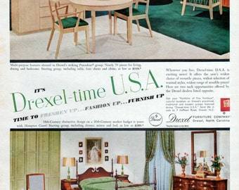 Drexel Precedent Hampton Court Ad Vintage Bedroom Dining Furniture North Carolina 1954 Original Wall Decor Advertising Art