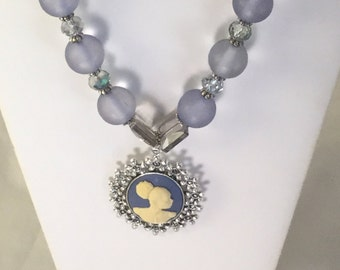 Blue and Sliver Cameo Necklace