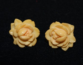 Vintage Screw Back Celluloid Rose Motif Earrings Silver Tone Backing 1930s Unmarked