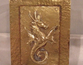 """Wonderful Brass """"Hammered"""" Music Box With Flying Dragon No Place Like Home"""