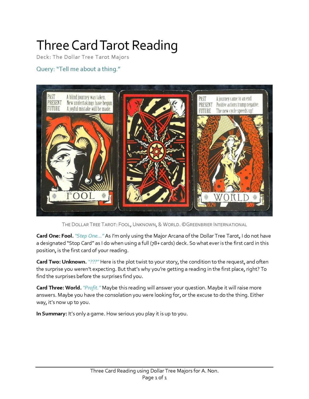 Use Tarot To Plan Your Business Tarot Reading Case Study: 3 Card Tarot Reading Using The Dollar Tree Majors