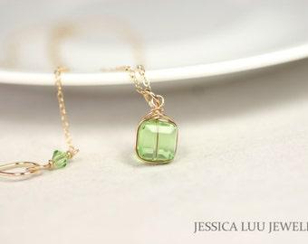 Gold Peridot Necklace Wire Wrapped Jewelry Light Green Swarovski Crystal Necklace Swarovski Crystal Jewelry Rose Gold Necklace Earrings Set