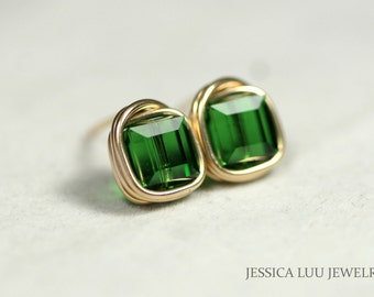 Gold Green Stud Earrings Wire Wrapped Jewelry Gold Stud Earrings Green Earrings Swarovski Crystal Earrings Gold Jewelry Gold Earrings