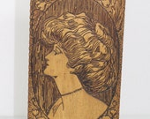 Gibson Girl Pyrography Handkerchief Box