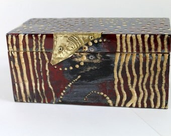 Painted Keepsake Box with brass (fish) hasp
