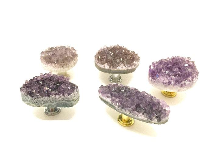 Geode Knobs--Purple Geode Knob--Purple Geode Handle--LIGHT AMETHYST KNOB