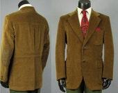 Corduroy Sport Coat -- Mens' Vintage 1970s Dark Caramel Standard Wale Corduroy Belted Action Back Jacket -- Mens Size 43 44