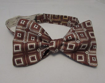 "Silk Bow Tie - Vintage 1970s Silk Butterfly Self-Tie Bow Tie - Shades of Brown -- 37.5"" x 3.5"""