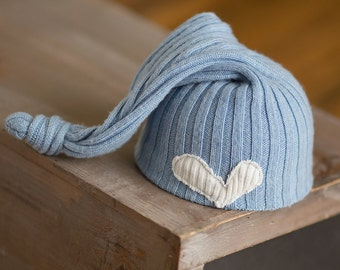 Newborn Boy Hat Blue Upcycled Hat Knit Sleepy time Stocking Cap with Heart Photography Prop READY TO SHIP newborn hat Blue Newborn Hat rts