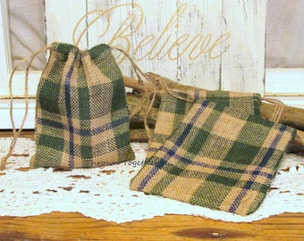 Green Blue Plaid Burlap Favor Bag, Teacher Gift Bag, Rustic Bag, Green Blue Plaid Party Favor Bag, Set of 5 Handmade Rustic Burlap Bags