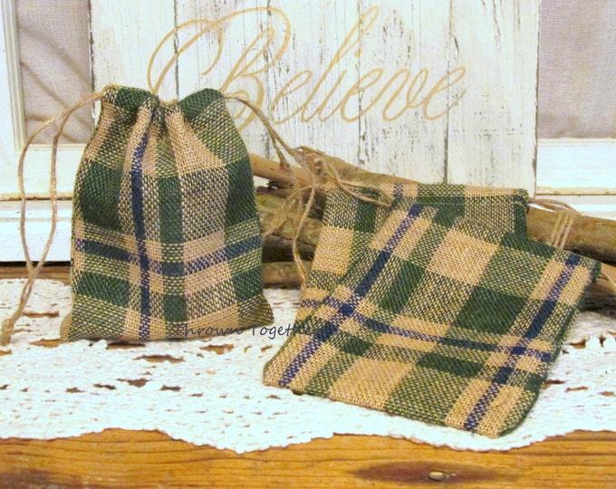 Green & Blue Plaid Burlap Favor Bag, Teacher Gift Bag, It's a Boy Baby Shower Party Favor Bag, Set of 8 Handmade Rustic Burlap Bags