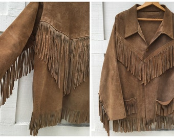 70's Suede Leather Fringe Jacket Brown Boho Gypsy Hobo Hippie - Men's Size Large