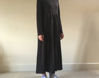 Vintage 1980s Charcoal Grey Midi Laura Ashley Dress Polo neck and long sleeve gathered skirt 100% Cotton