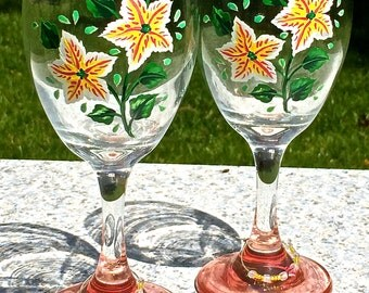Hand Painted Wine Glasses With Yellow Flowers and Wine Charms, Christmas Gift, Anniversary Gift, Birthday Gift, Ready To Personalize Glasses