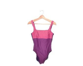 Vintage Purple Swimsuit Purple Bathing Suit One Piece Swimsuit 80s Swimsuit Size 12