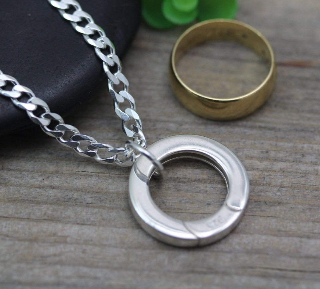 Mens Ring Holding Sterling Silver Ring Holder Necklace