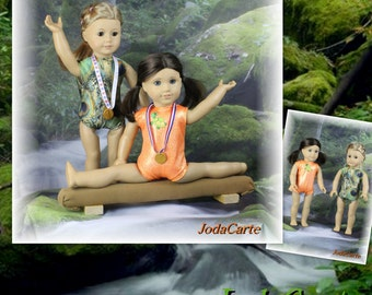 Embroidered Orange Mystique and Peacock Print Doll Leotards, Medals & Tan Beam - American Girl Doll
