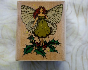 Fairy on Ivy Mounted Rubber Stamp/ Retired Stamp
