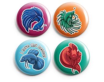 Betta Fish Pinback Buttons, Pins, Buttons, Badge, Cute Animal Art, Royal Blue, Green, Light Blue, Red