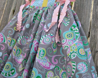 Ready to Ship Size 5 Girls Dress, Butterfly Beauty, Monogram Option