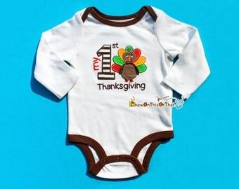 Baby's First Thanksgiving Embroidered Turkey Onesie, Bodysuit, Top, Shirt