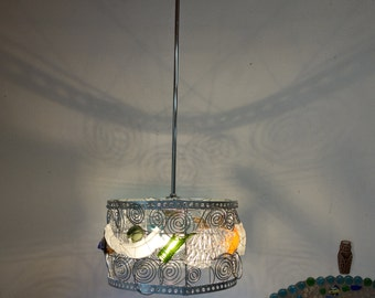 Teenage Nickel Wire glass Hanging Lamp, Recycle BROKEN Glass (As floorlamp possible)